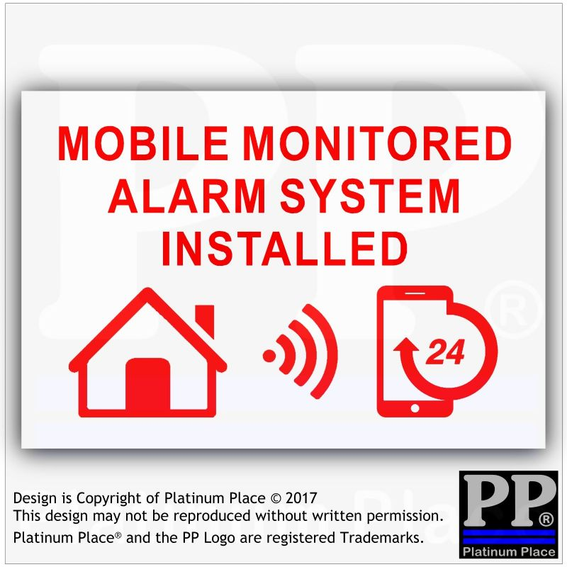 1 x MOBILE Monitored Alarm System Installed Stickers-130mm-Red on White External Application-24hr Security Warning Signs for Home,House,Flat,Business